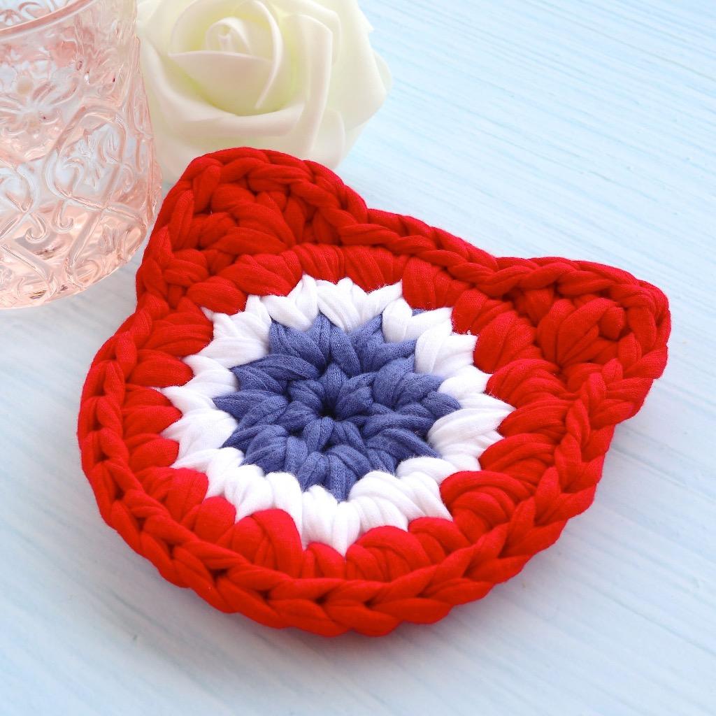 法式貓頭 布條手工鉤織杯墊 / 隔熱杯墊 紅、白、藍