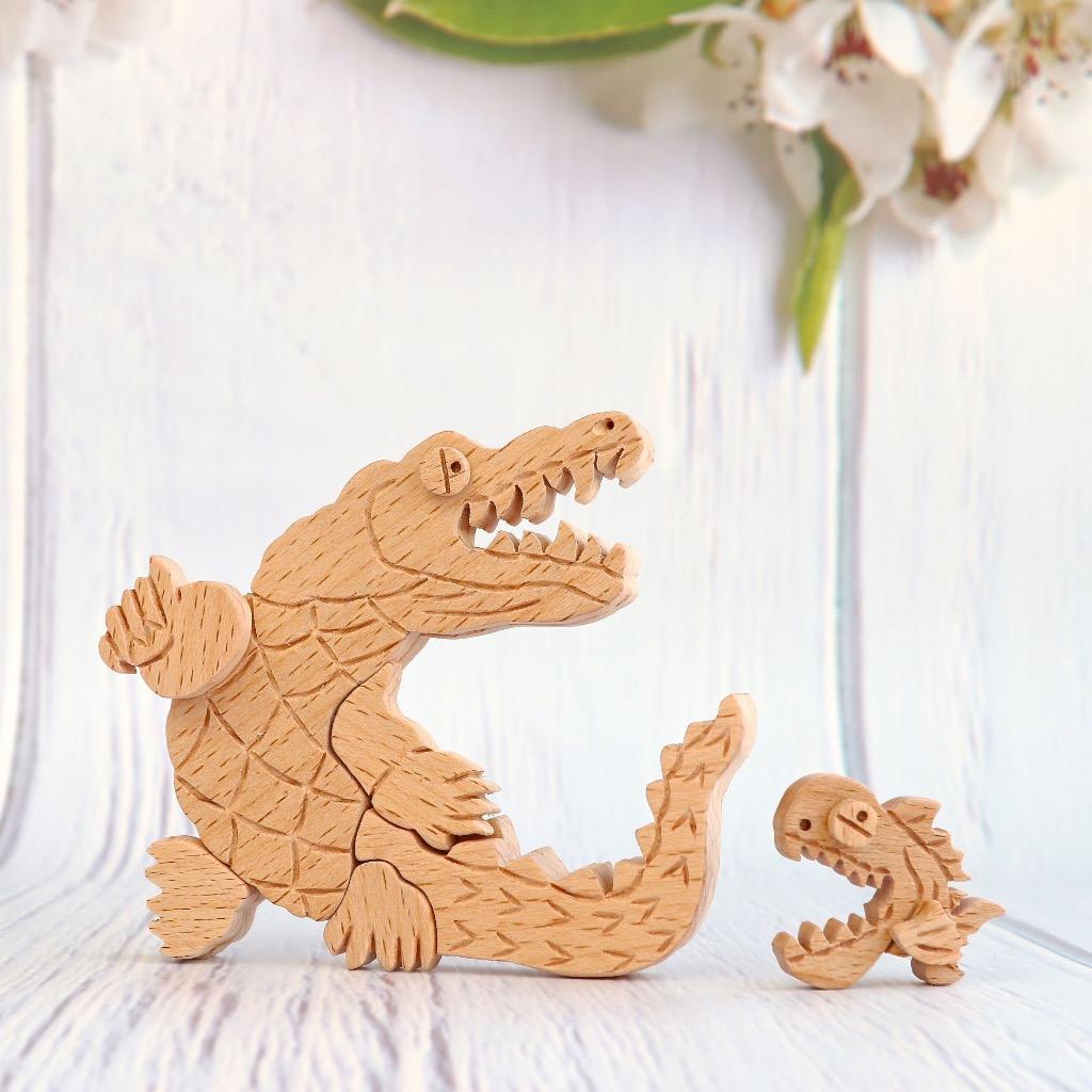 手工木製磁合擺設 木質模型 鱷魚與食人魚 禮物訂製