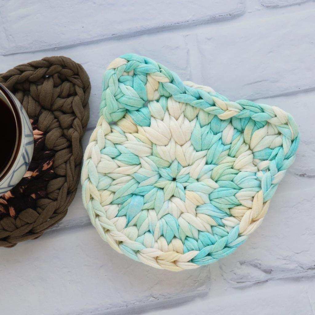 貓頭 布條手工鉤織杯墊 / 隔熱杯墊 紮染天空藍 禮物訂製