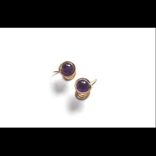 Amethyst耳夾/耳針 | 經典紫水晶耳環
