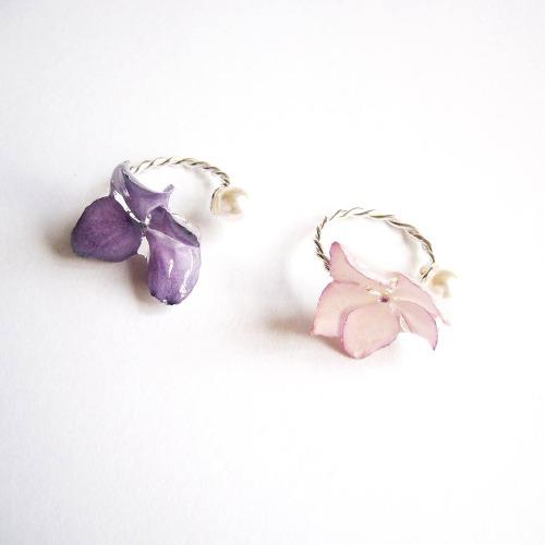 《硬膠花癡AGFC》(受注製作)全立體真花製作 珍珠銀麻花指環 介指