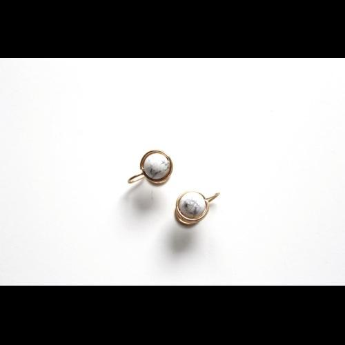 Howlite耳夾/耳針   經典白紋石耳環