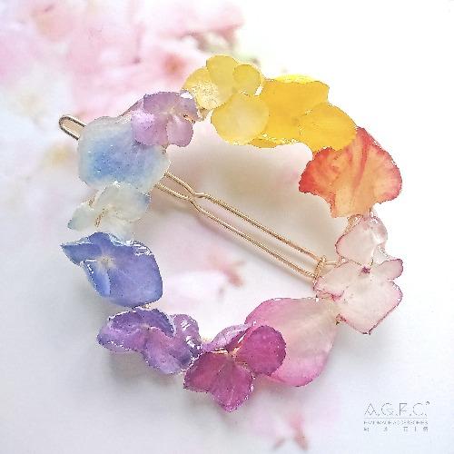 節日新品《硬膠花癡AGFC》(受注製作)全立體真花製作 14K鍍金天使光環 髮夾