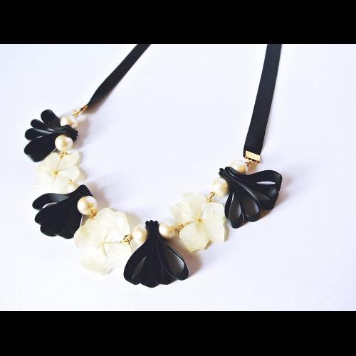 《硬膠花癡AGFC》(受注製作)全立體真花製作 棉棉珠絲帶風琴 項鏈 頸鍊 頸鏈