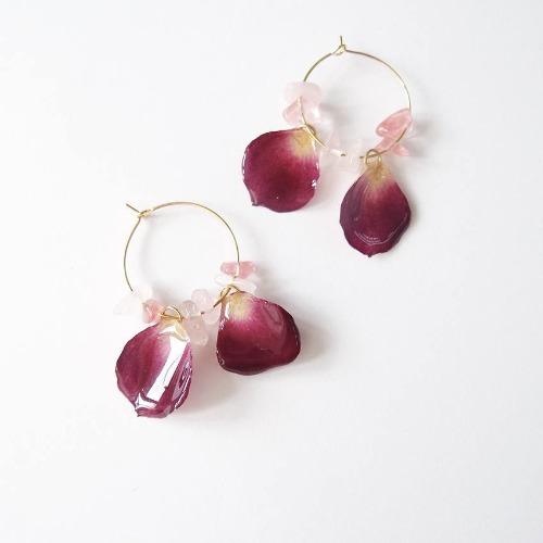 《硬膠花癡AGFC》(受注製作)全立體真花製作 花瓣水晶石 24K鍍金耳圈 耳環