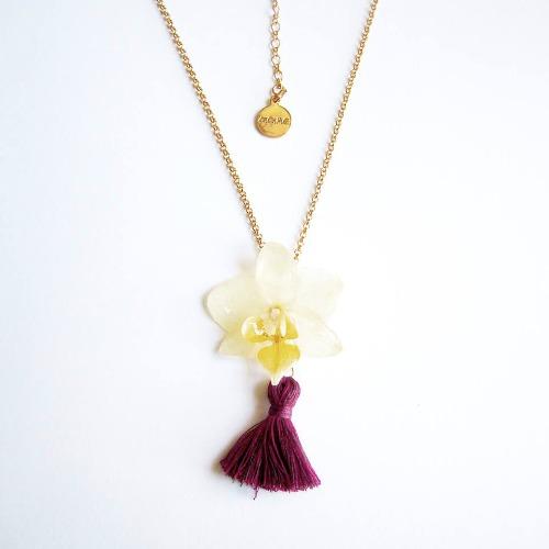 《硬膠花癡AGFC》(受注製作)全立體真花製作 蝴蝶蘭手織流蘇 24K鍍金項鍊 項鏈 頸鍊 頸鏈
