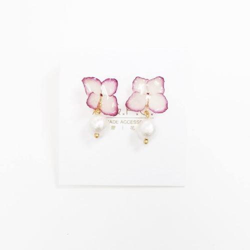 《硬膠花癡AGFC》(受注製作)全立體真花製作 花朵吊棉棉珠 24K鍍金耳勾 耳環