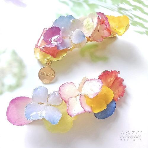 《硬膠花癡AGFC》(受注製作)全立體真花製作 14K鍍金髮夾 鴨咀夾