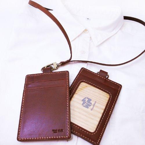 真皮革,悠遊識別卡夾(附牛皮掛繩)-深咖啡