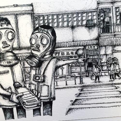 香港輻射旅行團  明信片畫作
