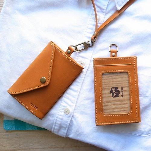MUMU木木識別證,手工皮革(牛皮咖啡)