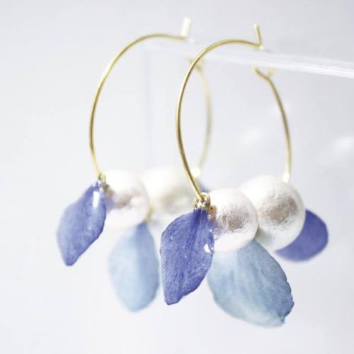 《硬膠花癡AGFC》(受注製作)全立體真花製作 花瓣棉棉珠 24K鍍金耳圈 耳環