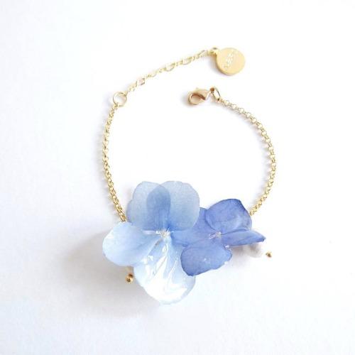 《硬膠花癡AGFC》(受注製作)全立體真花製作 雙花棉棉珠 24K鍍金手鍊 手鏈