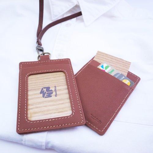 真皮革,悠遊識別卡夾(附牛皮掛繩)-復古咖啡